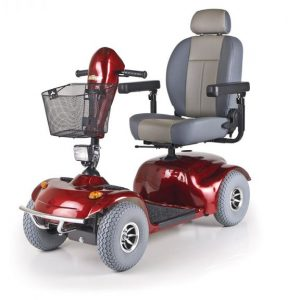 Golden Avenger Mobility Scooter in red with grey wheels and a grey seat. The seat is a captains chair. Heavy duty weight capacity. 4-wheeled model.