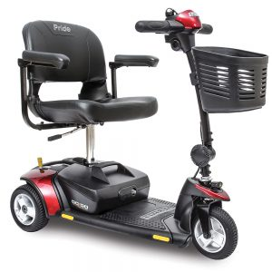 pride go-go elite traveller mobility scooter. 3-wheel model. Black with red accents.