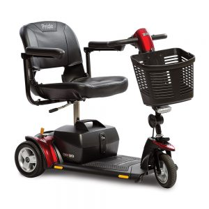 pride go-go elite traveller plus mobility scooter. 3-wheel model. Black with red accents.