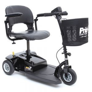 pride go go es 2 mobility scooter 3 wheels. A compact scooter in all black. There is a black basket with the Pride Mobility logo hanging just below the handlebars.