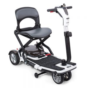 pride go go folding scooter. Black with white accents. This scooter folds into a briefcase-style travel package--black supports can be seen to either side of the seat.