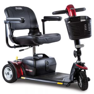 pride go go sport mobility scooter. 3-wheel model. Black with red accents.