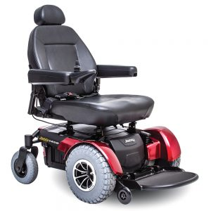 pride jazzy 1450 hd heavy duty power chair. Black on black with a few red accents. 4-wheel,s one hand control on right armrest.