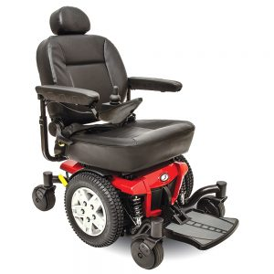Pride Jazzy 600 es power chair. Black on black with a few red accents. 4-wheel,s one hand control on right armrest.