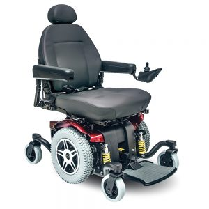 Pride Jazzy 614 hd power chair. Black on black with a few red accents. 4-wheel,s one hand control on right armrest.