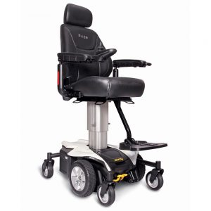Pride Jazzy Air Power Chair with raising seat lift. Black with silver accents. The black captain's chair is shown raised to it's highest setting atop a silver seating shaft.