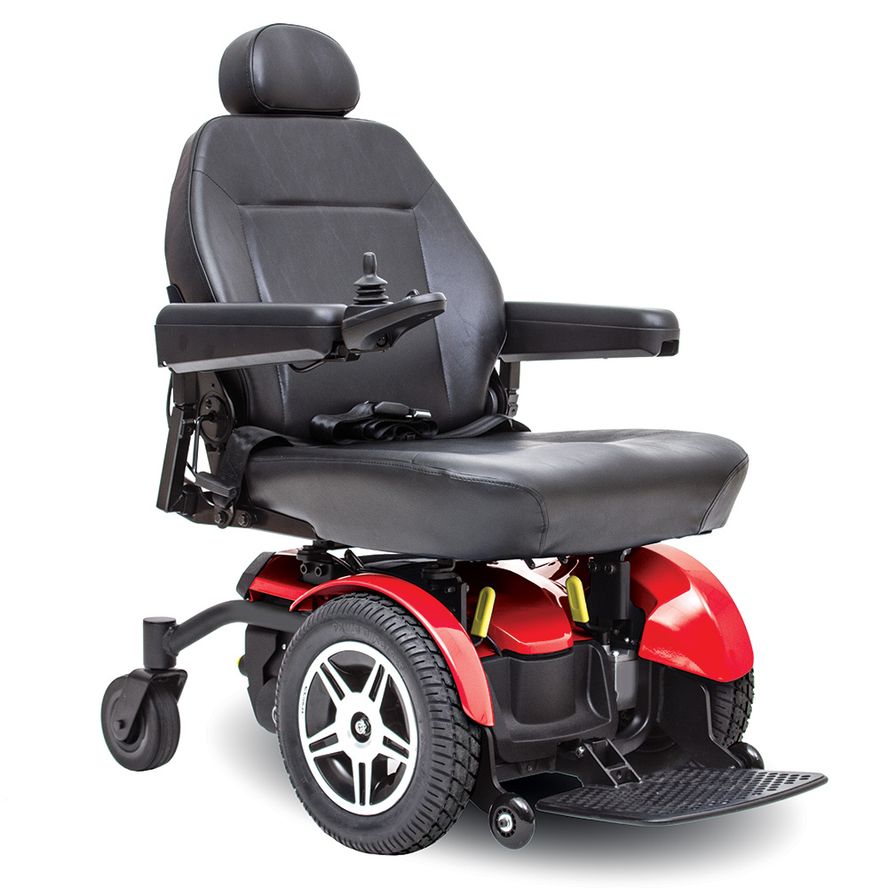 jazzy elite 14 pride power chair. heavy duty, extra large captain's seat in black. Black on black with a few red accents. 4-wheel,s one hand control on right armrest.
