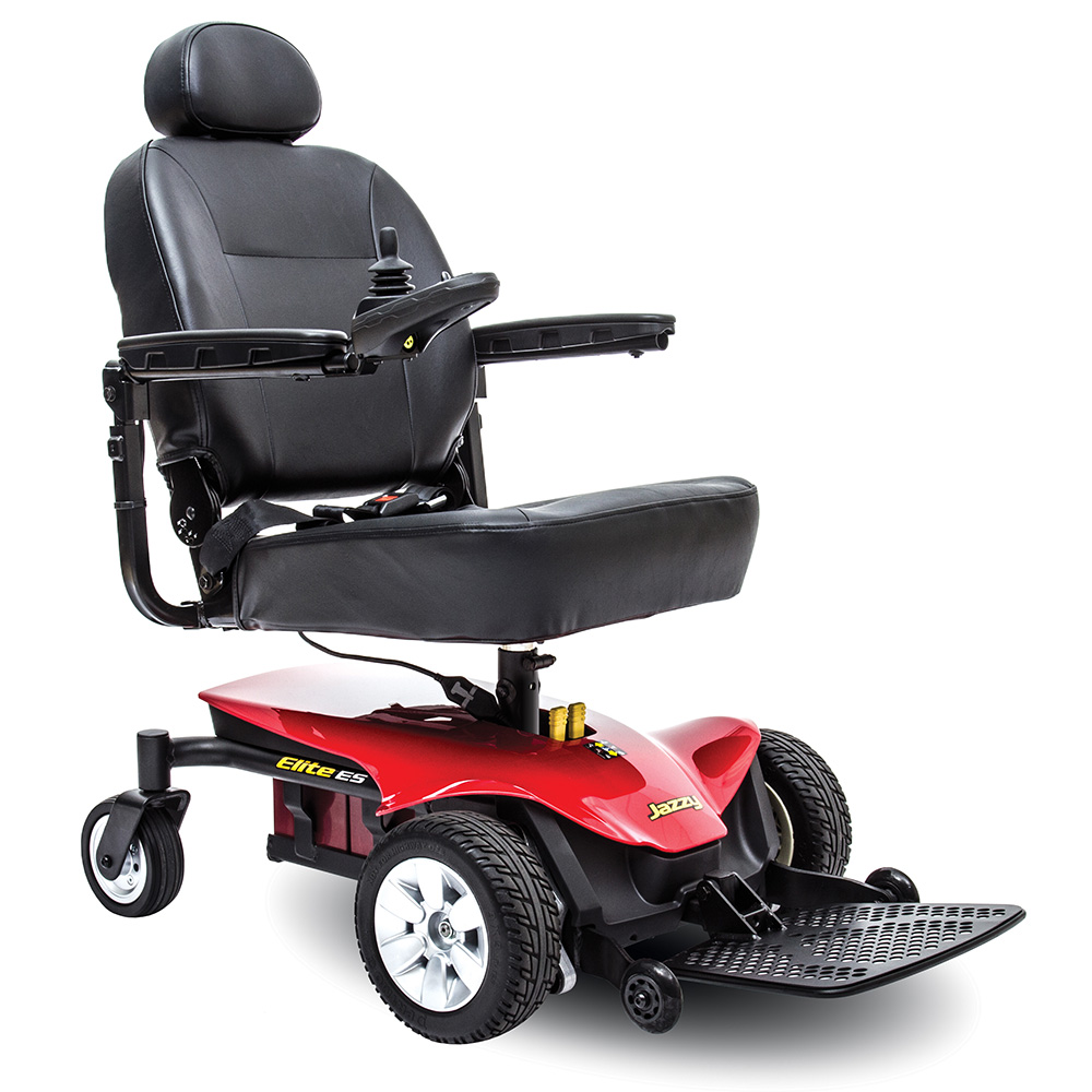 Pride Jazzy elite ES power chair power wheelchair. lightweight power chair. Black on black with a few red accents. 4-wheel,s one hand control on right armrest.