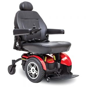 Pride Jazzy Elite HD power wheelchair. Black on black with a few red accents. 4-wheel,s one hand control on right armrest.