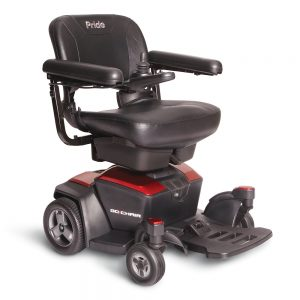 pride jazzy go chair power chair. Black on black with a few red accents. 4-wheel,s one hand control on right armrest.
