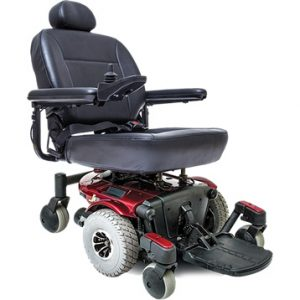 pride jazzy j6 power chair. Black on black with a few red accents. 4-wheel,s one hand control on right armrest.