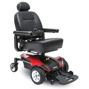 Jazzy Select elite power chair heavy duty model. Black on black with a few red accents. 4-wheel,s one hand control on right armrest.