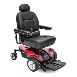 pride jazzy sport 2 power chair full size model. Black on black with a few red accents. 4-wheel,s one hand control on right armrest.