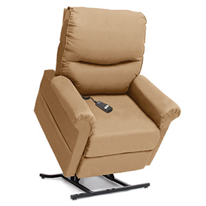 Pride Power Recliner LC-105. Power Lift Recliner in it's raised position. The frame of the chair is on flat on the ground while the rest of the chair is lifted and at a 35 degree angle. The fabric is Pride's Khaki.