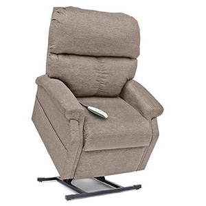 Pride LC-250 Power Recliner. Power Lift Recliner in it's raised position. The frame of the chair is on flat on the ground while the rest of the chair is lifted and at a 35 degree angle. The Fabric is Pride's Latte.