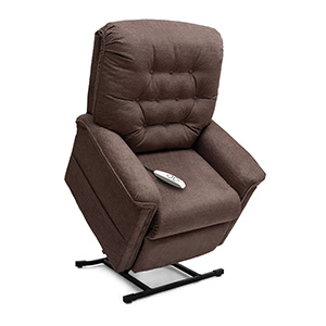 Pride LC-358 Lift Chair. Power Lift Recliner in it's raised position. The frame of the chair is on flat on the ground while the rest of the chair is lifted and at a 35 degree angle. The fabric is Pride's Oatmeal.