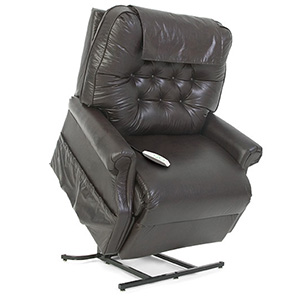 Pride LC-358XXL Power Recliner. Power Lift Recliner in it's raised position. The frame of the chair is on flat on the ground while the rest of the chair is lifted and at a 35 degree angle. The fabric is Pride's Vinyl Black.