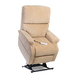 Pride LC-525iM Power Recliner with Lift. Power Lift Recliner in it's raised position. The frame of the chair is on flat on the ground while the rest of the chair is lifted and at a 35 degree angle. The fabric is Pride's Buff Ultraleather.