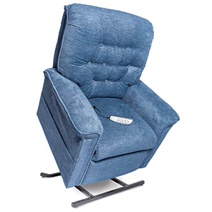 Pride LC-558 Power Recliner with Lift. Power Lift Recliner in it's raised position. The frame of the chair is on flat on the ground while the rest of the chair is lifted and at a 35 degree angle. The Fabric is Pride's blue.