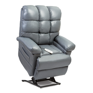 Pride LC-580iL Lift Chair. Power Lift Recliner in it's raised position. The frame of the chair is on flat on the ground while the rest of the chair is lifted and at a 35 degree angle. The fabric is Pride's Fudge Ultraleather.