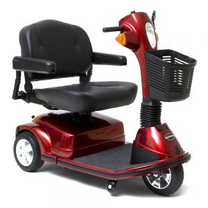 pride maxima 3 wheel mobility scooter heavy duty version. 3-wheel model. Black with red accents.