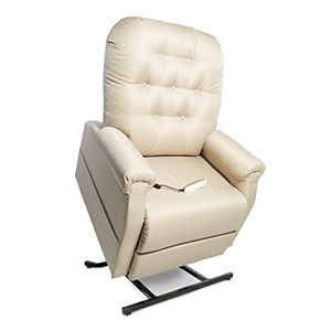 Pride NM-158 Power Recliner with lift. Power Lift Recliner in it's raised position. The frame of the chair is on flat on the ground while the rest of the chair is lifted and at a 35 degree angle. The fabric is Pride's Buff Ultraleather.
