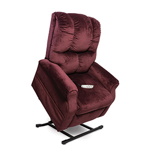 Pride L-225 Lift Chair. Power Lift Recliner in it's raised position. The frame of the chair is on flat on the ground while the rest of the chair is lifted and at a 35 degree angle. The fabric is Pride's Berry Plush Velvet.