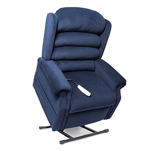 Pride NM-435LT Power Recliner with Lift. Power Lift Recliner in it's raised position. The frame of the chair is on flat on the ground while the rest of the chair is lifted and at a 35 degree angle. Fabric is Pride's Blue.