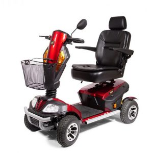 golden patriot mobility scooter in red with black accents, black wheels, a black captains chair and a black basket. Heavy duty full-size scooter, 4-wheels.