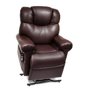 Golden Power Cloud Power Lift Recliner in it's raised position. The frame of the chair is on flat on the ground while the rest of the chair is lifted and at a 35 degree angle. The headrest is articulating, currently at a 15 degree angle. The fabric is Golden's Black Onyx Brisa.