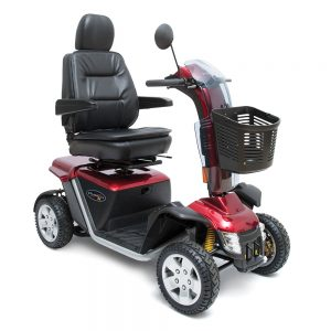 Pride pursuit xl 4 wheel mobility scooter. Full-size, 4-wheel model. Black seat, black battery pack, black floor board with silver highlights. Wheels are black with grey hubcaps. Black basket. Everything else is a cherry red.