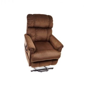 Golden Space Saver Power Lift Recliner in it's raised position. The frame of the chair is on flat on the ground while the rest of the chair is lifted and at a 35 degree angle. The fabric is Golden's copper color.