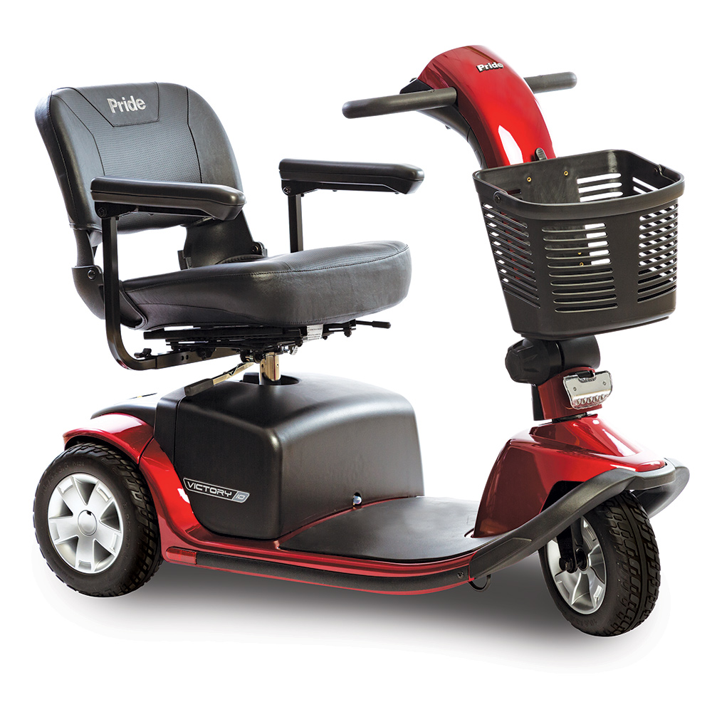 pride victory 10 mobility scooter 3 wheel heavy duty, 400 lb capacity model. 3-wheel model. Black with red accents.