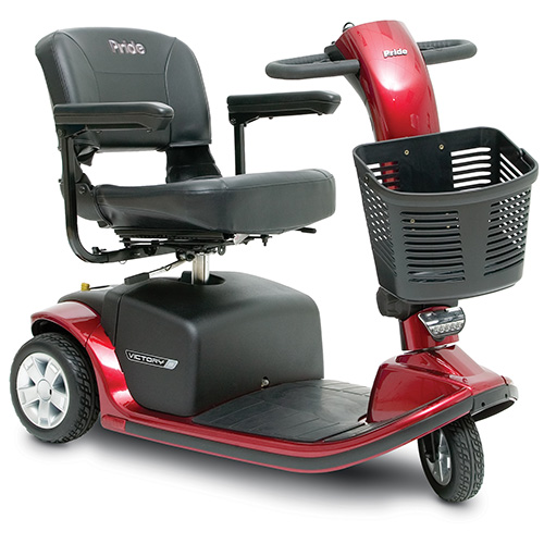 Pride Victory 9 mobility scooter. 3-wheel model. Black with red accents.