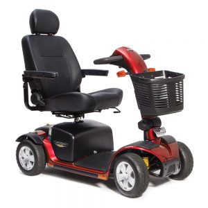 pride victory sport 4 wheel mobility scooter. Black with red accents.