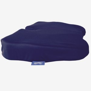 Kabooti donut cushion in a navy cover shown on a white background.