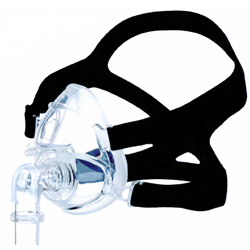 roscoe med full face cpap mask. Black band with a clearish-blue nasal aspirator.