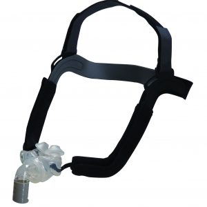 Aloha Nasal Pillow and CPAP Mask shown on a white background. Black straps and a clear nasal guard.