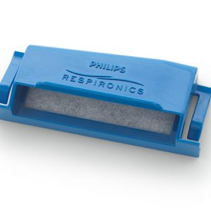 DREAMSTATION REUSABLE FILTER. A blue plastic, rectangular shell stuffed with a white, cottony filter.