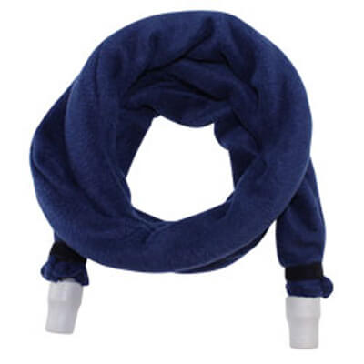 """Roscoe Navy CPAP cover 70"""". The hose is shown fully covered, coiled in the middle of a white background."""
