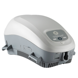 Transcend Mini CPAP unit on a white background. The device is two-tone grey; the bottom half is dark grey, the top half is light grey.