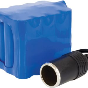 viverity volt cpap battery pack backup portable. A blue battery pack with a black plug shown on a white background.