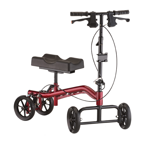 nova hd knee walker. Red Frame, black parts and seat. On a white background.