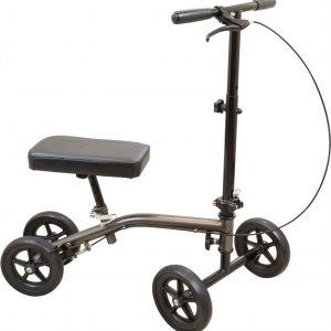 roscoe knee scooter. Grey frame with black parts and wheels. On a white background.