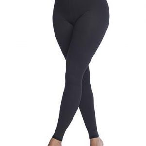 sigvaris soft silhouette leggings worn by a model. The leggings are all black and go from the ankle to the waist. White background.