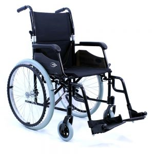 karman lt-980 lightweight wheelchair shown against a white backdrop. The chair is all back, except for grey wheels.