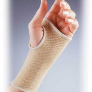 Fla elastic wrist pullover brace. A model hand is wearing a knit, beige sleeve with open fingers and open thumb.