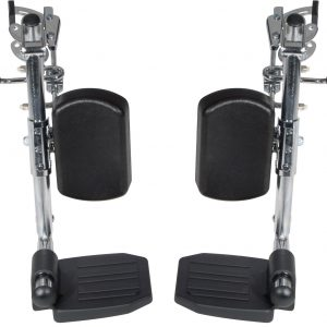 elevated wheelchair legrests rental default image. Silver framing holds black calf rests and foot rests.