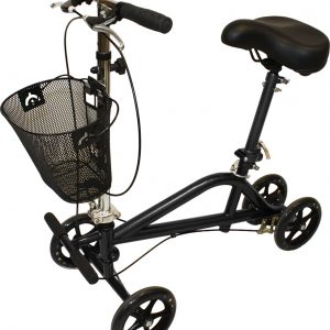 Seated knee scooter rental default image. The Roscoe Gemini seated knee scooter is shown against a white backdrop. The scooter has a bicycle-style seat and bicycle-style handles. The seat and handles connect to the 4 wheeled base via a long, adjustable shaft. A basket sits on the front.