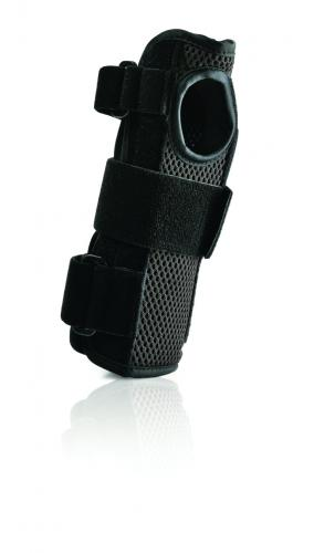 """FLA Prolite Airflow 8"""" Wrist Brace. The brace is shown against a white background. The side facing the camera is a black/grey mesh, with a thumb hole. The rest of the brace is black with a strap at the bottom, top and around the thumb."""